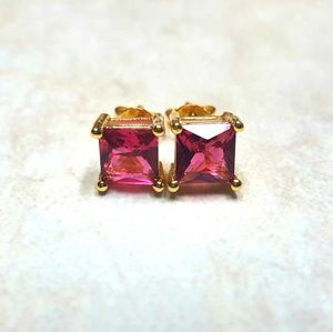 18kt Gold Plated Semi Precious Ruby Earrings